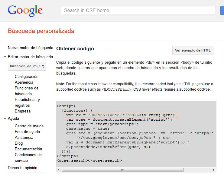 Motor de búsqueda de Google personalizado. Apertura de página sugerida en la misma pestaña M412