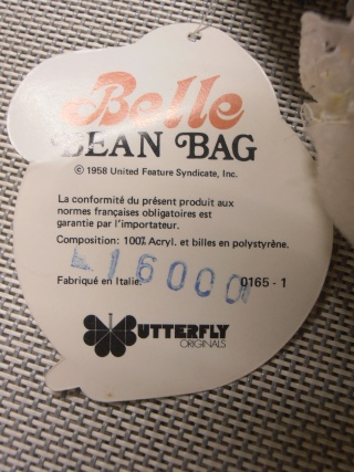 Peluche Belle bean bag.( Snoopy). Butterfly originals. 1965. Prodotta in Italia.Nuova. 10310