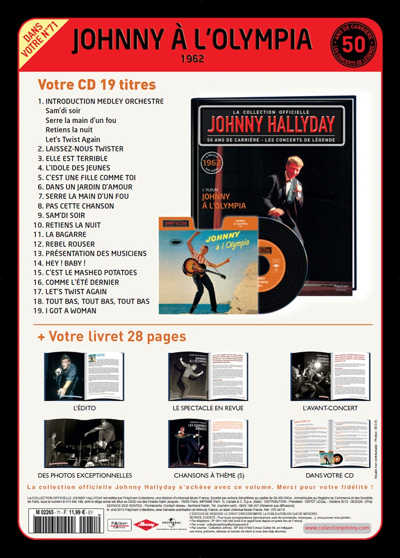 Volume 71 Johnny A l'Olympia 1962 Jhcoll17