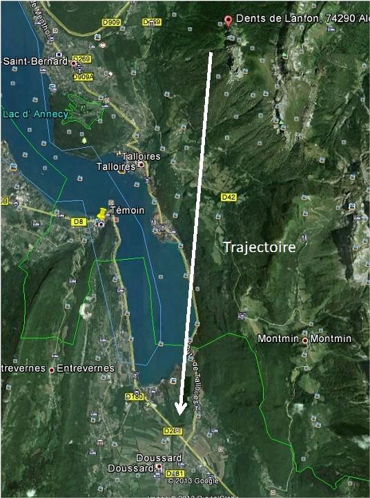 2004: le 24/08 à 14h - en forme de parapente +disque au-dessousOvni en forme de cloque - Talloires - Haute-Savoie (dép.74) Trajec10