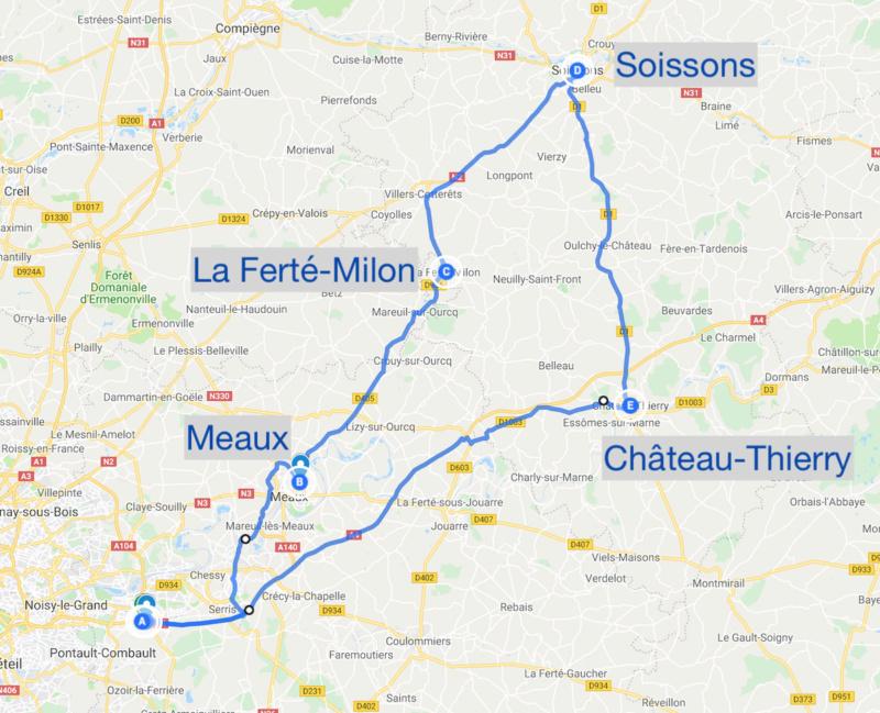 """Balade """"culturelle"""" le 29-09-2018 : Musée de Meaux, la Ferté-Milon, Soissons, Château-Thierry Trajet10"""