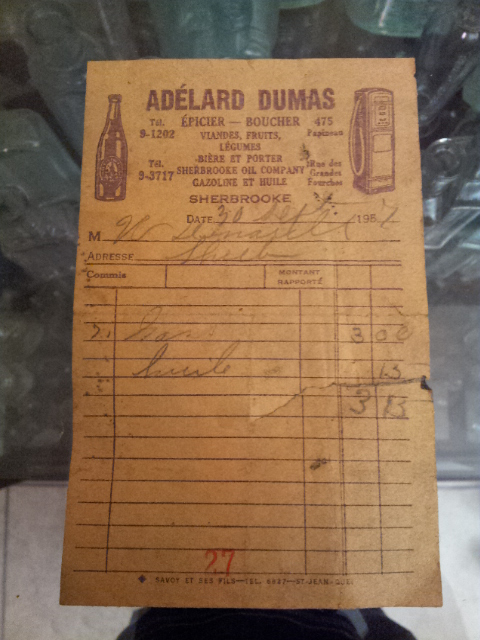 Factures Adelard Dumas de Sherbrooke 05210