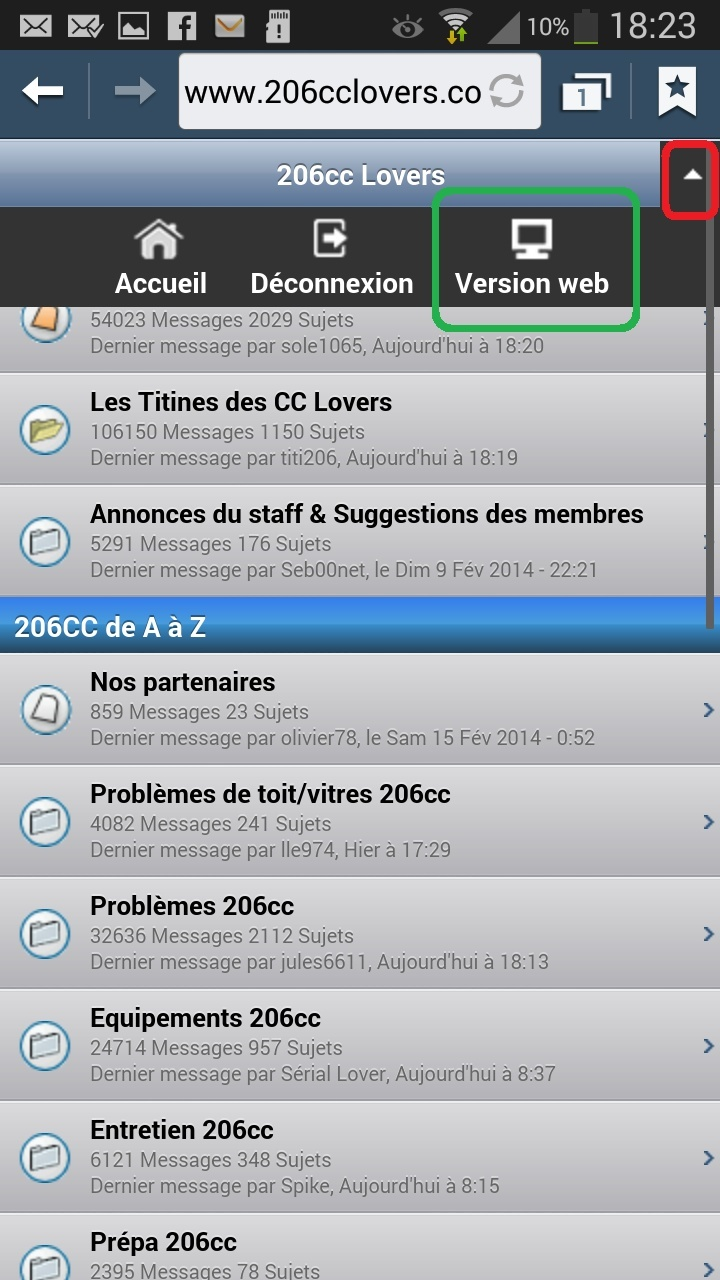 Naviguer sur le forum depuis un smartphone ou tablette Android ou iOs Screen11