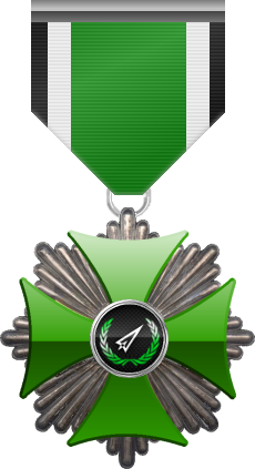 Silver level of the Green Cross of the Silver Arrows - This award is given to a member who distinguished in a number of contributions made to the clan in the form of equipment, money or knowledge. Silver level is the second of six.