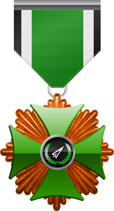 Bronze level of the Green Cross of the Silver Arrows - This award is given to a member who distinguished in a number of contributions made to the clan in the form of equipment, money or knowledge. Bronze level is the first of six.