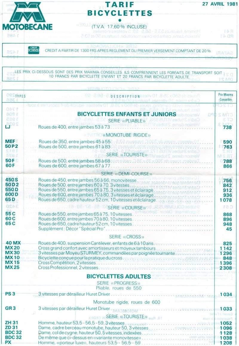 MOTOBECANE BDC 32 1982 Tarif_10