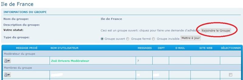 Tutoriel pour l'adhésion au groupe d'une région limitrophe Groupe12