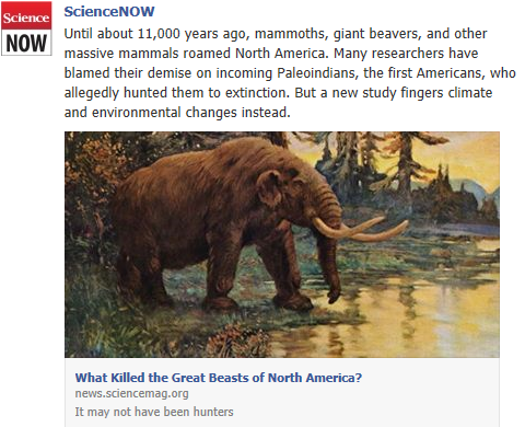 What Killed the Great Beasts of North America? Temp1056