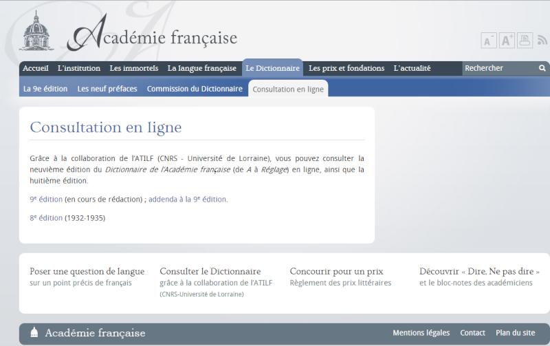 L'Académie Française - le site Internet Temp2249