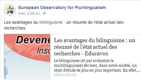 Les avantages du bilinguisme : un résumé de l'état actuel des recherches Temp2351
