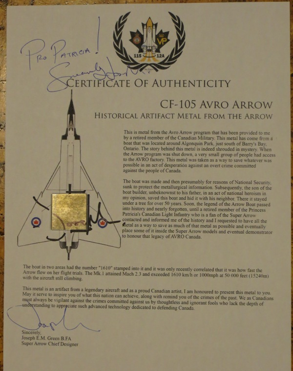 Piece of Avro Arrow Img_0912