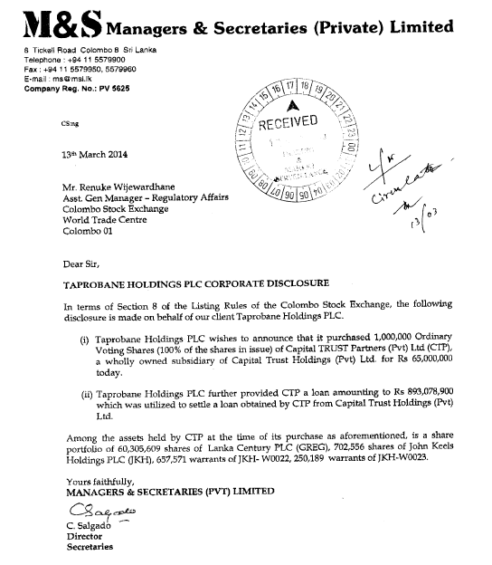 Taprobane Holdings - Corporate Disclosure Captur11