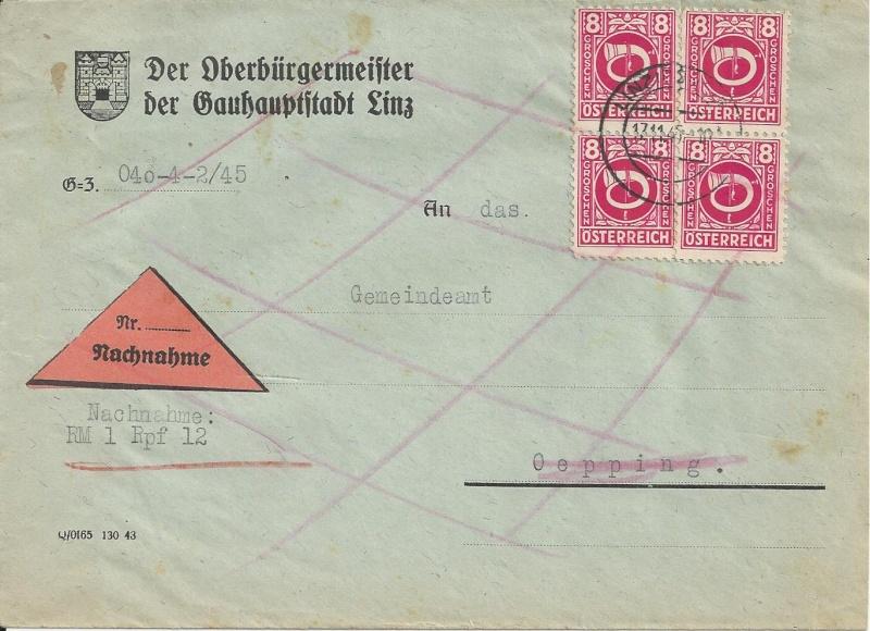 Posthornzeichnung  -  ANK 697-713  -  Belege Bild25