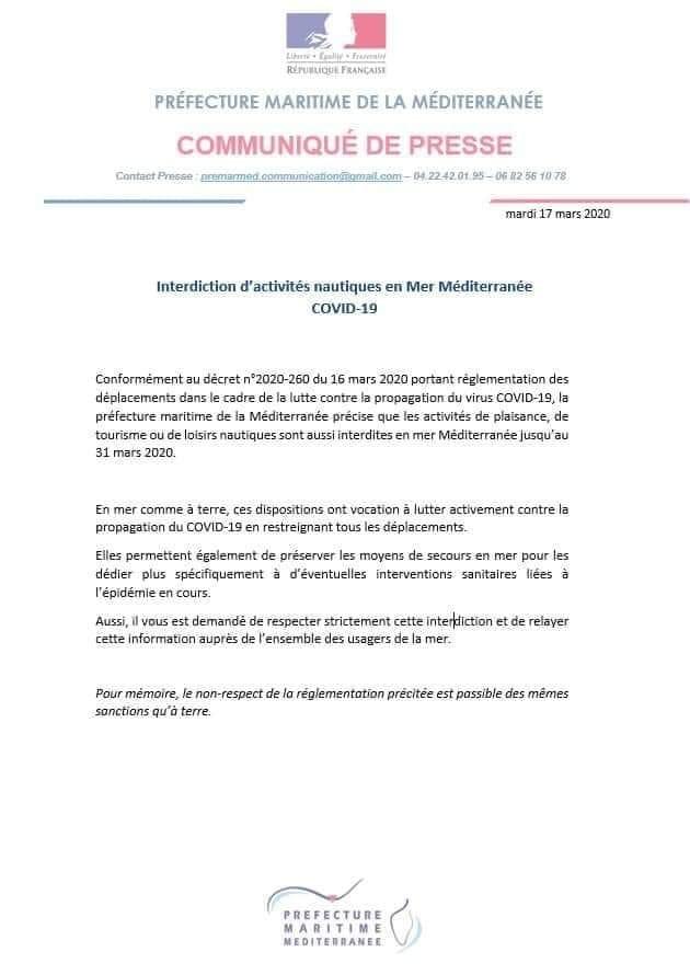 Covid: interdiction de naviguer en Méditerranée jusqu'au 31 mars 2020 89972810