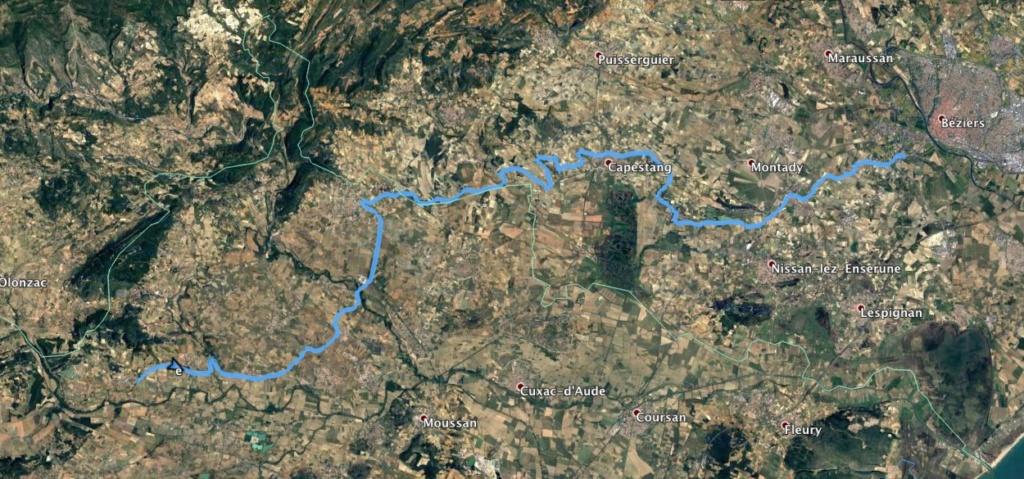 Ma petite balade de 100 km dans la journée sur le canal du Midi en SUP trimaran. Carto10