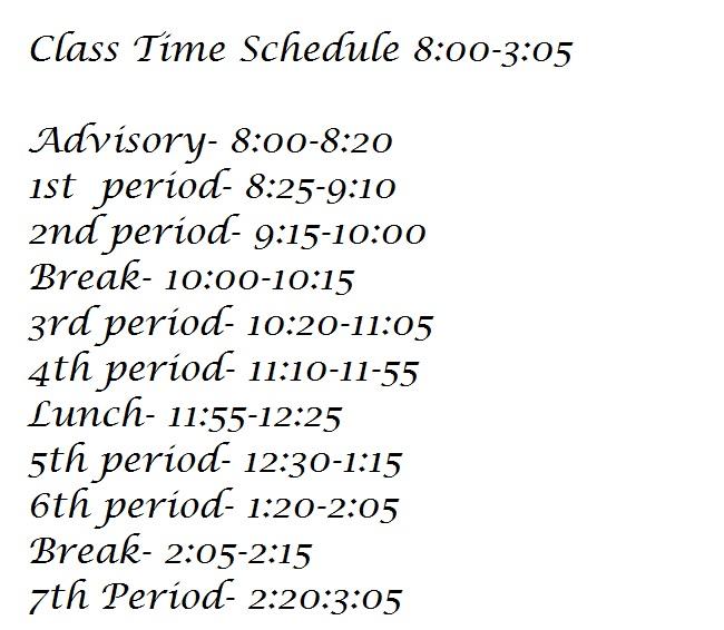 Class Schedules  Class_11