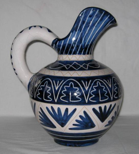 Vase émail craquelé décor bleu oiseaux et fleurs de lys - Masipal  Espagne Voltz10