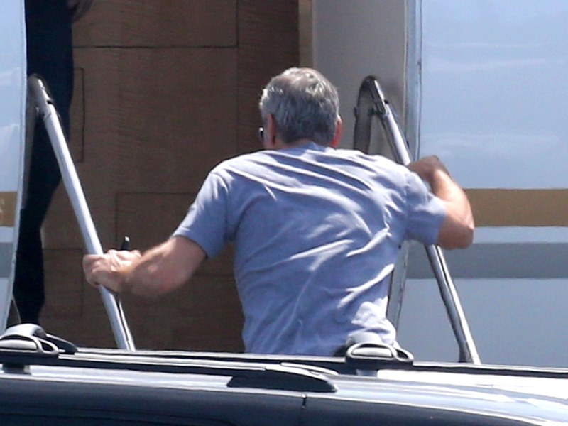 George Clooney and Amal leaving LA Air210
