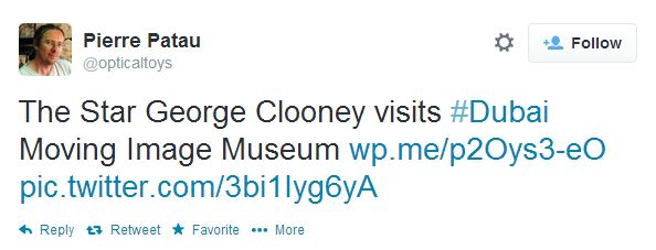 """George Clooney visits """"Moving Image Museum"""" in Dubai Dubai10"""
