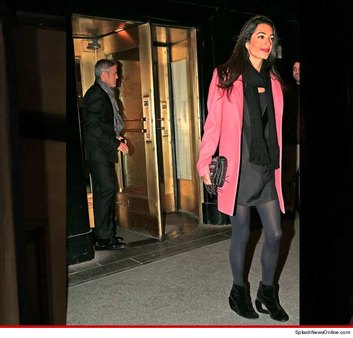 George Clooney out to dinner with Amal Alamuddin in New York Ny10
