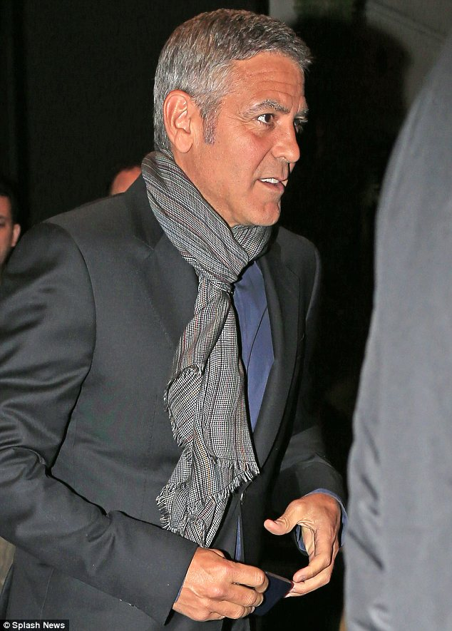 George Clooney out to dinner with Amal Alamuddin in New York Tan10
