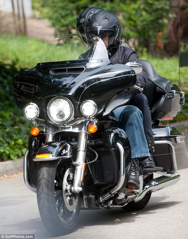 George Clooney takes fiancée Amal Alamuddin for a romantic ride on the back of his motorcycle in LA Trip10