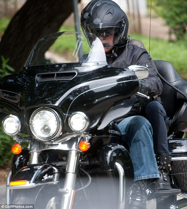 George Clooney takes fiancée Amal Alamuddin for a romantic ride on the back of his motorcycle in LA Trip210