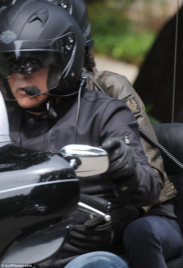 George Clooney takes fiancée Amal Alamuddin for a romantic ride on the back of his motorcycle in LA Trip310