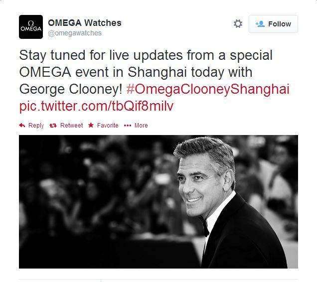 George Clooney expected in Shanghai on 16 May 2014 for Omega celebration - Page 2 Twitte10