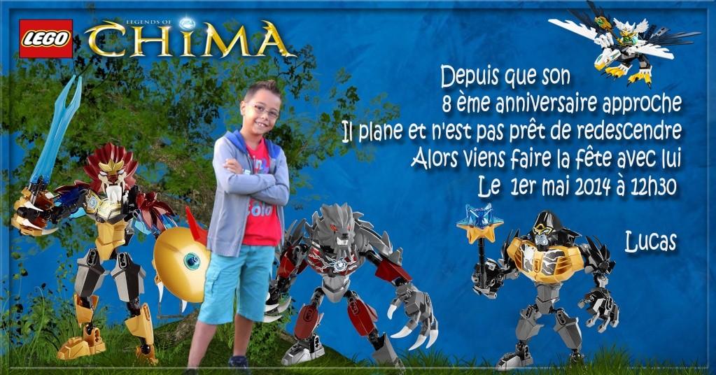 """Invitation Lego """"CHIMA"""" Lucas - 8 ans 1mai12"""