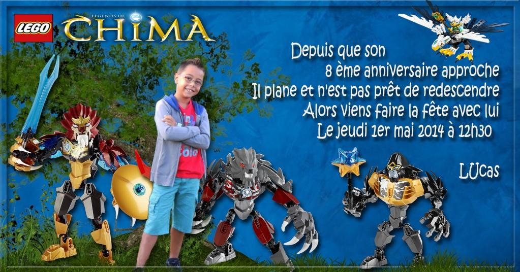 "Invitation Lego ""CHIMA"" Lucas - 8 ans 216"
