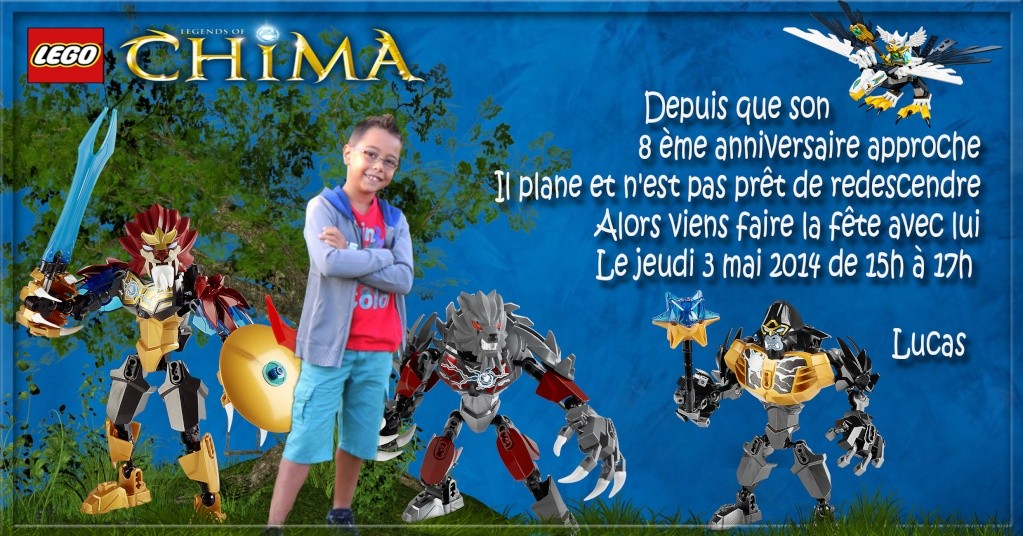 """Invitation Lego """"CHIMA"""" Lucas - 8 ans 3mai11"""