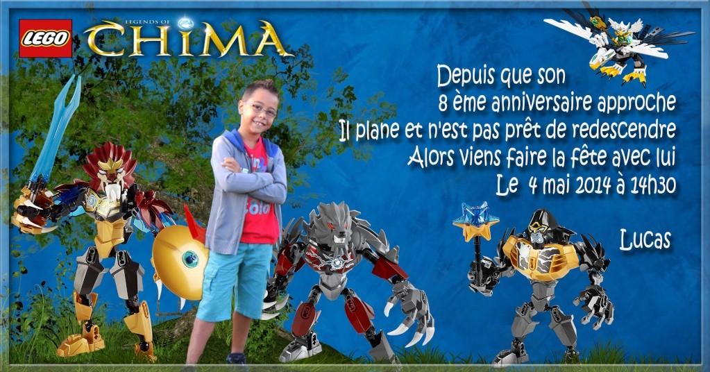 """Invitation Lego """"CHIMA"""" Lucas - 8 ans 4mai12"""