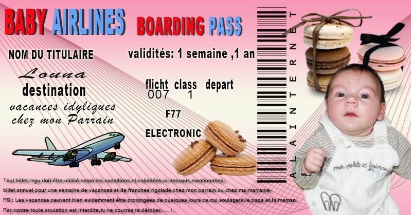 Billet avion Parrain Marraine Billet11