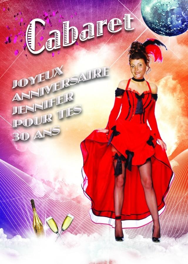 Affiche anniversaire 30 ans thème Cabaret Retro_11