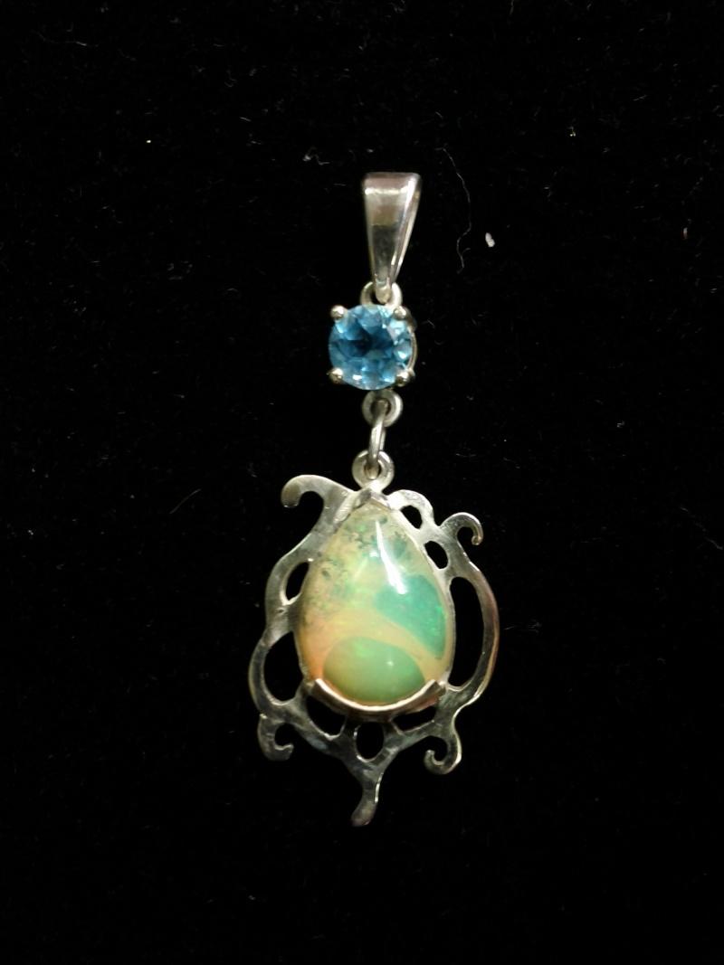 Pendentif topaze et opale Penden12