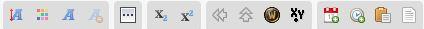 Description des caractères de la barre d'outil. 160