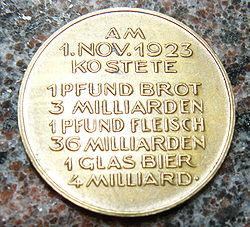 Hiperinflación Alemana de 1923 Medall10