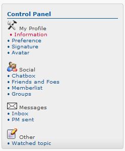 Widget: Dynamic User Control Panel Captu154