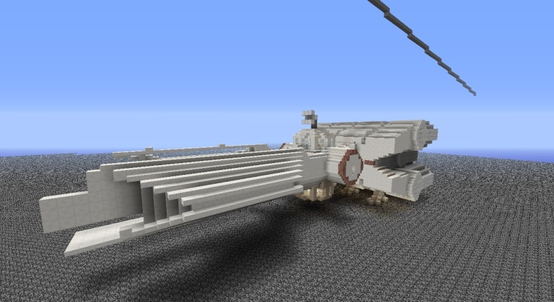 Star Destroyer, with Tantive IV in Minecraft. 2014-011