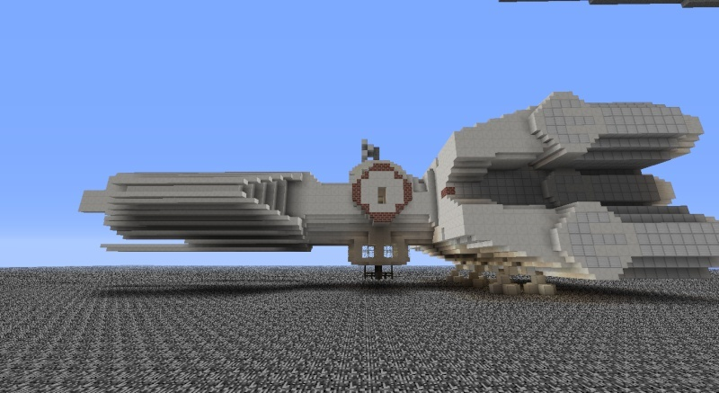 Star Destroyer, with Tantive IV in Minecraft. 2014-012