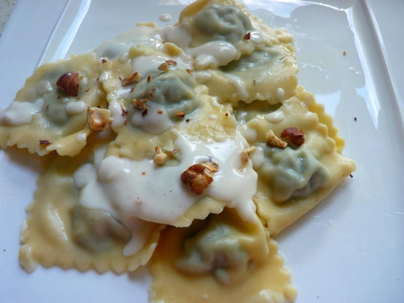 Ravioles épinard gorgonzola noisette P1050016