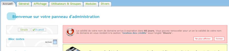 Système de notification e-mail lors de l'expiration d'un nom de domaine Annonc10