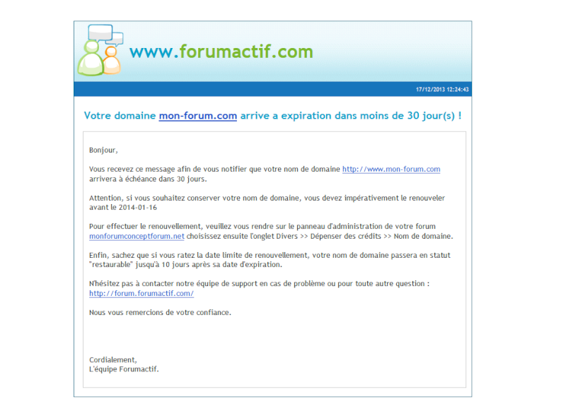 Système de notification e-mail lors de l'expiration d'un nom de domaine Email-10
