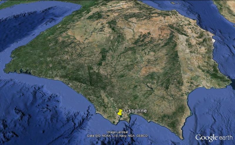 Les lumières de la péninsule ibérique vue depuis la Station spatiale internationale. Lisb_310
