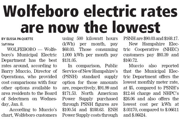 Wolfeboro electric rates are now the lowest Electr10