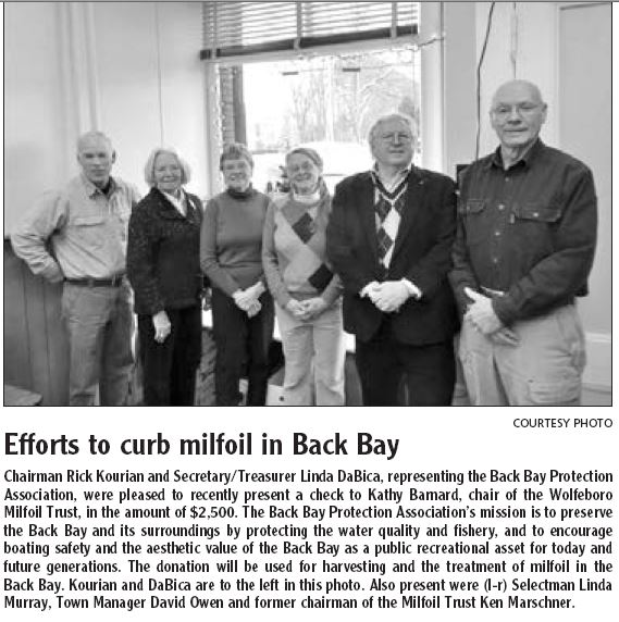 Efforts to curb milfoil in Back Bay Milfoi10