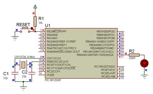 مشاريع الميكروكونترولر PIC18F2550 مع الدايودات المشعة للضوء والمترجم ميكروسى برو : 117