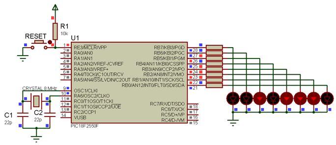 مشاريع الميكروكونترولر PIC18F2550 مع الدايودات المشعة للضوء والمترجم ميكروسى برو : 218
