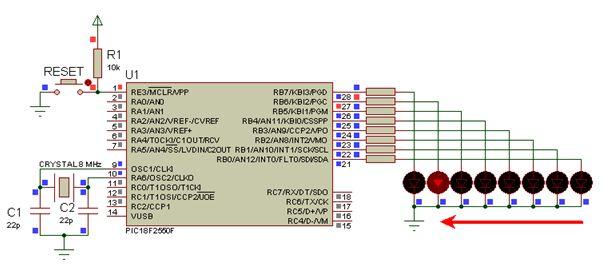 مشاريع الميكروكونترولر PIC18F2550 مع الدايودات المشعة للضوء والمترجم ميكروسى برو : 219